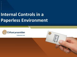Internal Controls in a  Paperless Environment