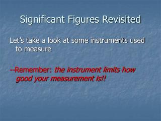 Significant Figures Revisited