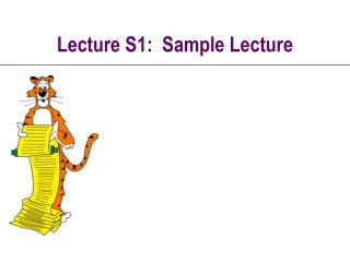 Lecture S1:  Sample Lecture