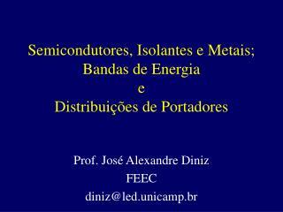 Semicondutores, Isolantes e Metais; Bandas de Energia e Distribui  es de Portadores