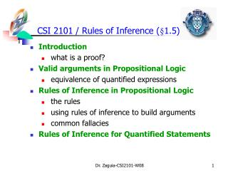 CSI 2101 /  Rules of Inference ( §1.5)