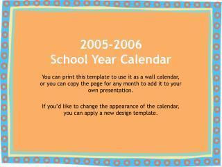2005-2006 School Year Calendar