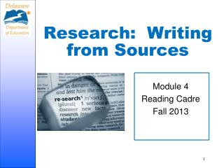 Research:  Writing from Sources