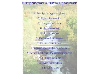Elveprosesser = fluviale prosesser 1) Den hyrdrologiske syklus 2) Fluvial hydraulikk