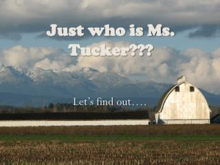 Just who is Ms. Tucker???