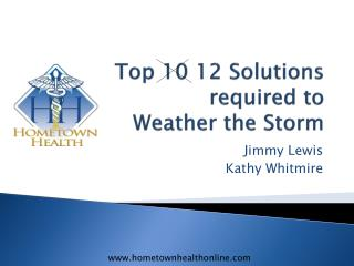 Top 10 12 Solutions required to  Weather the Storm
