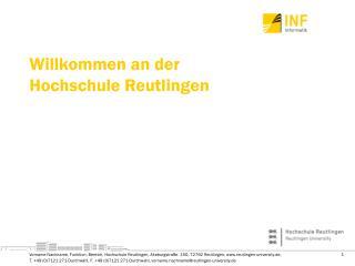 Willkommen an der  Hochschule Reutlingen