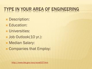 Type in Your Area of Engineering