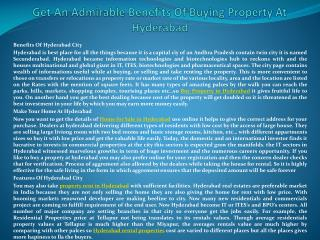 Get An Admirable Benefits Of Buying Property At Hyderabad