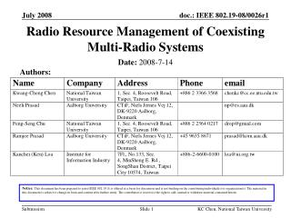 Radio Resource Management of Coexisting Multi-Radio Systems