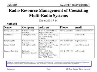 Radio Resource Management of Coexisting Multi-Radio Systems