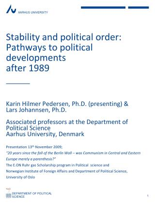 Stability and political order: Pathways to political developments after 1989