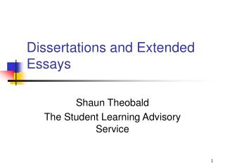 Dissertations and Extended Essays