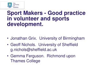Sport Makers - Good practice in volunteer and sports development.