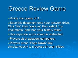 Greece Review Game