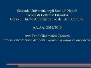 Seconda Università degli Studi di Napoli  Facoltà di Lettere e Filosofia