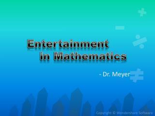Entertainment           in Mathematics