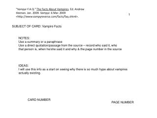 SUBJECT OF CARD: Vampire Facts