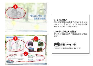 1. 写真の挿入 サンプル写真内の画像アイコンをクリックすると、「ライブラリ」から好きな写真を挿入することができます。 2. テキストの入れ替え テキスト を自由に入れ替えることができます 。