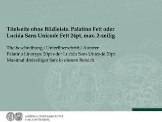 Titelseite ohne Bildleiste. Palatino Fett oder Lucida Sans Unicode Fett 24pt, max. 2-zeilig