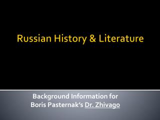 Russian History & Literature