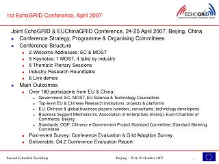 1st EchoGRID Conference, April 2007