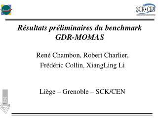 Résultats préliminaires du benchmark GDR-MOMAS