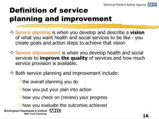 Definition of service planning and improvement