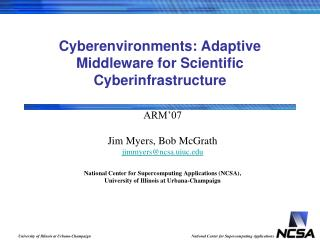 Cyberenvironments: Adaptive Middleware for Scientific Cyberinfrastructure