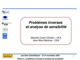 Problèmes inverses  et analyse de sensibilité Marylise Caron-Charles – CEA