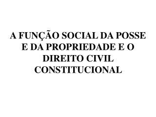 A FUNÇÃO SOCIAL DA POSSE E DA PROPRIEDADE E O DIREITO CIVIL CONSTITUCIONAL