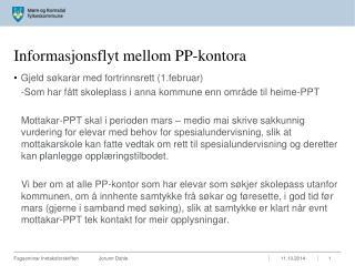 Informasjonsflyt mellom PP-kontora