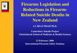 Firearms Legislation and Reductions in Firearm-Related Suicide Deaths in New Zealand