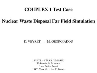 COUPLEX 1 Test Case Nuclear Waste Disposal Far Field Simulation D. VEYRET   –   M. GEORGIADOU