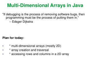 Multi-Dimensional Arrays in Java