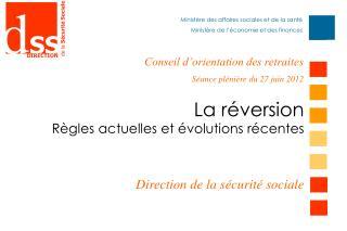 La réversion Règles actuelles et évolutions récentes  Direction de la sécurité sociale
