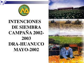 INTENCIONES DE SIEMBRA CAMPAÑA 2002-2003 DRA-HUANUCO MAYO-2002