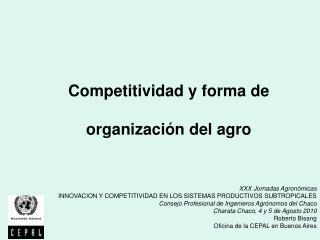 XXX Jornadas Agronómicas INNOVACION Y COMPETITIVIDAD EN LOS SISTEMAS PRODUCTIVOS SUBTROPICALES