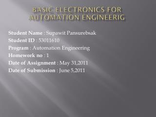 Basic Electronics for Automation  Engineerig