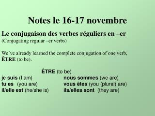 Notes le 16-17 novembre