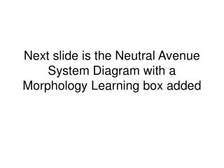 Next slide is the Neutral Avenue System Diagram with a Morphology Learning box added