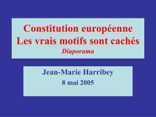 Constitution européenne Les vrais motifs sont cachés Diaporama