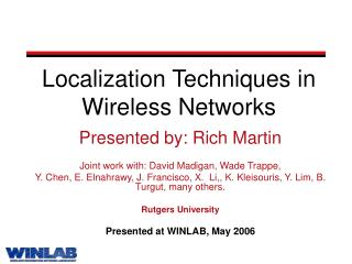 Localization Techniques in Wireless Networks