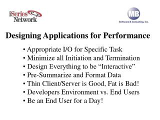 Designing Applications for Performance