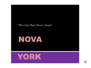 """ ""The City  That Never Sleeps "" NOVA"