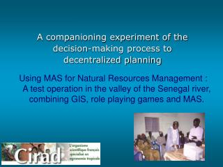 A companioning experiment of the decision-making process to  d ecentralized planning