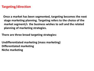 Targeting/direction