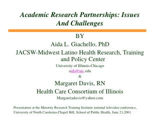 Academic Research Partnerships: Issues And Challenges
