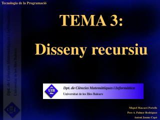 TEMA 3:  Disseny recursiu