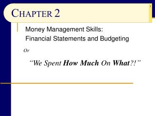 Money Management Skills: Financial Statements and Budgeting